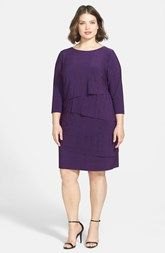 Tahari by ASL Tiered Slub Jersey Shift Dress (Plus Size)
