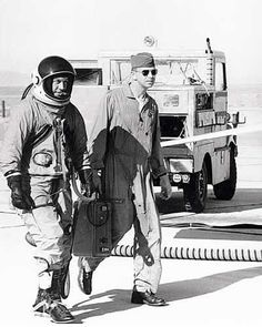 General Chuck Yeager All suited up: Yeager approaches the NF-104 Starfighter prior to his flights on 10 December 1963.