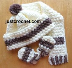 Free crochet pattern for bobble Hat, scarf & mitts http://www.justcrochet.com/hat-scarf-mitts-usa.html #justcrochet #freecrochetpatterns