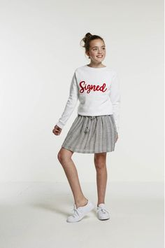 girls bonne signed sweater - white