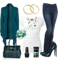 """Teal/Turquoise & Gold"" by stay-at-home-mom on Polyvore"