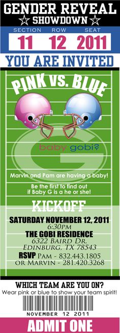 gender reveal party football - Google Search