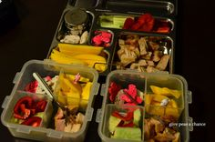 2013 Bento 40-42 #bento #lunch #planetbox #kids #school Planet box (for both Pixie and I) Pork chop Cucumber Bell Pepper Mango Animal crackers and dressing for Pixie the other girls have the same lunch, except Diva has salt and pepper, not dressing
