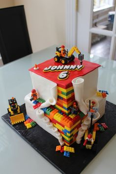 Lego Construction on Cake CentralYou can find Lego cake and more on our website.Lego Construction on Cake Central 5th Birthday Cake, Lego Birthday Party, 6th Birthday Parties, Boy Birthday, Birthday Ideas, Lego Torte, Bolo Lego, Lego Construction, Cake Central