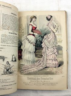 For sale 1883 Journal des Demoiselles- french Victorian era fashion magazine, complete with 12 hand colloured fashion plates. More complete years available for sale Victorian Era Fashion, Victorian Women, Gothic Fashion, 1880s Fashion, Fashion Fashion, Vintage Gowns, Vintage Outfits, Vintage Hats, Vintage Clothing
