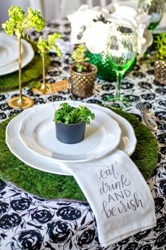 St. Patrick's Day tablescape with the required green mossy plate holder!