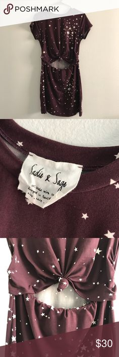 Sadie & Sage Maroon Star Dress size Small Only worn once for a Photoshoot - matches red barret in my shop if it's still available Sadie & Sage Dresses Mini
