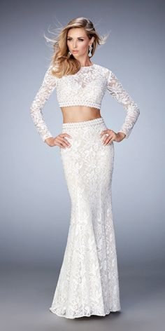 Shop La Femme evening gowns and prom dresses at Simply Dresses. Designer prom gowns, celebrity dresses, graduation and homecoming party dresses. Lace Prom Gown, Lace Evening Gowns, Lace Dress, Long Sleeve Fitted Dress, Prom Dresses Long With Sleeves, Formal Dresses, Sleeve Dresses, Fitted Bodice, Dress Long