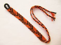SOLD OUT Woven Wristband Orange Black Friendship Bracelet