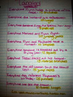 Tangled movie workout!  Want to see more workouts like this one? Follow us here.