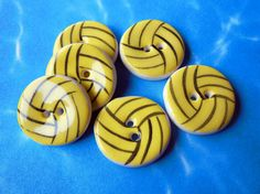 ...use on a quilt for my girls???  Water Polo Ball Buttons, Handmade Ceramic Sports Buttons