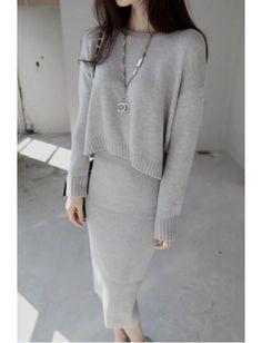 Cheap Slim Grey Asymmetrical Knit Long Sleeve Sweater Long Dress Two Piece  Minimal Outfit 2c8f383a22b5