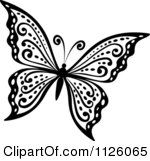 Clipart Of A Black And White Butterfly 29 Royalty Free Vector Illustration by Seamartini Graphics