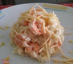 Receita de risoto de camarão com camembert