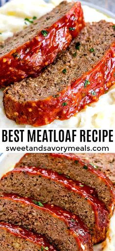 Meatloaf Meatloaf Recipe that is flavorful and juicy on the inside, with a delicious glaze spread on the outside.Meatloaf Recipe that is flavorful and juicy on the inside, with a delicious glaze spread on the outside. Meatloaf Recipe Video, Classic Meatloaf Recipe, Meatloaf Recipes, Meat Recipes, Cooking Recipes, Quick And Easy Meatloaf Recipe, Vegetarian Meatloaf, Meatloaf Glaze, Salads