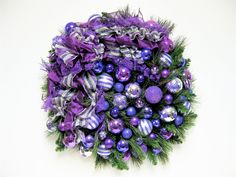 "Christmas Wreath Shades of Purple Christmas Holiday Wreath (Approx.  24""W X 8""D). $165.00, via Etsy."