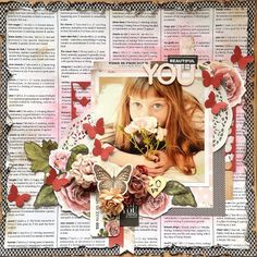 Kaisercraft Dec - Treasured Moments - Beautiful You by Belinda Spencer Vintage Scrapbook, Baby Scrapbook, Scrapbook Pages, Mix Media, Scrapbook Sketches, Scrapbooking Layouts, Cactus Images, Kids Pages, General Crafts