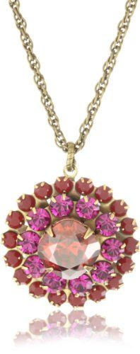 Liz Palacios %22Arco Iris%22 Swarovski Elements Coral Florette Pendant Necklace