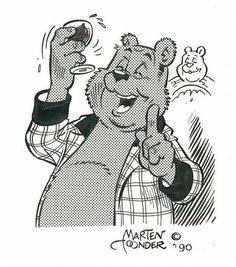 Originele tekening Marten Toonder van Heer Bommel `PROOST` voor Concordia - (1990) Comic Artist, Cartoon Characters, Fairy Tales, Cartoons, Animation, Illustrations, Comics, Random, Prints