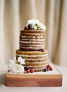 A yummy looking naked wedding cake: http://www.stylemepretty.com/2014/01/15/rustic-elegance-at-dos-pueblos-ranch/ | Photography: Jose Villa - http://josevilla.com/