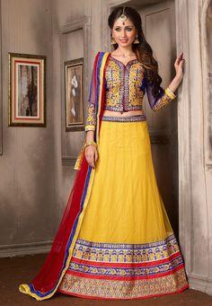 Buy Yellow Net Lehenga Choli with Dupatta online, work: Embroidered, color: Yellow, usage: Wedding, category: Lehenga Choli, fabric: Net, price: $140.00, item code: LDW813, gender: women, brand: Utsav