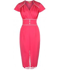 Lindy Bop 'Cecelia' Chic Vintage Style Pink and White Pencil Wiggle Dress: Women's Fashion Clothes Vintage Fashion 1950s, Vintage Inspired Fashion, Vintage Inspired Dresses, Vintage Mode, Retro Fashion, Vintage Style, Rockabilly Mode, Rockabilly Fashion, 1950s Style