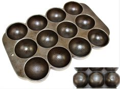 Antique 1920s Wagner Ware Cast Iron Muffin Pan, Round Bottom Muffin Pan, Gem Pan