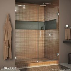 "DreamLine SHDR-23557210 Unidoor Lux 72"" High x 55"" Wide Hinged Frameless Shower Brushed Nickel Showers Shower Doors Hinged"