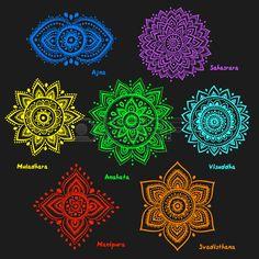 Isolati serie di belle ornamentali 7 chakra. Archivio Fotografico - 49360697
