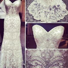 This is a very densly embellished wedding gown.  Beaded #weddingdresses like this can be quite costly.  But our dress design firm can make beaded bridal gowns like shit for a reasonable price.  We are located near Dallas Texas and provide brides with affordable custom wedding dresses.  We also make inexpensive #replicaweddingdresses for those brides who love a couture design but can not afford the original.  We will make a similar style that loosk the same for less at www.dariusCordell.com
