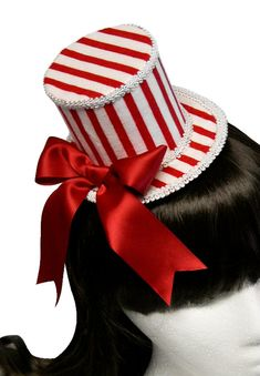 228675a229e Red and White Striped Boardwalk Carnival and County Fair Mini Top Hat -  Made to Order