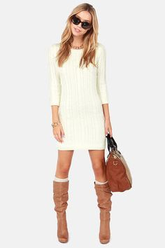 Darling Hazel #Cream #Knit #Sweater #Dress cream sweater dress outfit, shoes winter, fashion shoes, knit sweaters, cream dress outfit, sweater dress boots, dresses winter, winter fashion sweater dresses, sweaters dress