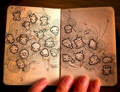 Supercool Kawaii doodles (and it looks like they're in a Moleskine notebook so that is another thumbs up!)