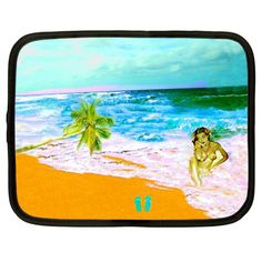 Closeout Sale Hula Girl Netbook Case Hawaiian beach by NirvanaRoad, $12.00