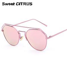 8edd90a2518 Cat Eyes Women s Sunglasses Summer Style Vintage Sun Glasses for Women  Brand Designer Metal Frame Aviation Mirror Glasses 170