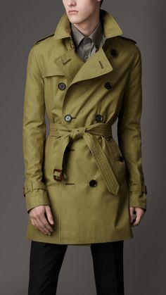 Burberry mid length cotton gabardine trench