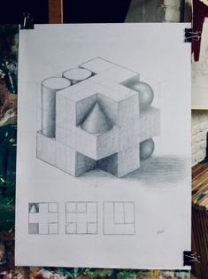 Perspective Drawing Lessons, Perspective Sketch, Geometric Shapes Drawing, Cat Drawing Tutorial, Black And White Art Drawing, Academic Drawing, Architecture Drawing Sketchbooks, Isometric Drawing, Architecture Concept Drawings