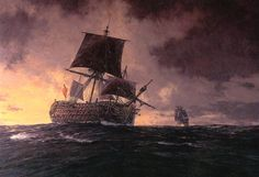 Los capitanes ingleses no dudaban en atacar aunque se encontrasen en inferioridad de condiciones. Durante la Batalla del Cabo de San Vicente, el Santísima Trinidad sufrió grandes averías e incluso llegó a arriar su bandera de combate, aunque la llegada de refuerzos evitó su apresamiento. Renqueando y con un aparejo de fortuna iba camino de Cádiz cuando fue descubierto por la fragata inglesa HMS Tepschicore, que se lanzó contra el gigante, cañoneandolo. Imaginaros, 136 cañones contra 32.