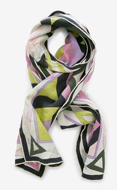 Emilio Pucci Black, Pink And Multicolor Scarf