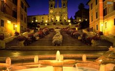 The spanish steps in Rome, Italy. I remember wandering the streets of Rome seeing many italian painters and entering the cathedral at the top. Oh The Places You'll Go, Places To Travel, Places To Visit, Travel Destinations, Travel Stuff, Dream Vacations, Vacation Spots, Vacation Rentals, Rome Spanish Steps