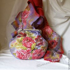 """Купить Валяный набор""""Хорошее настроение"""" - комбинированный, цветочный, Валяние, шарф, шарф валяный"""