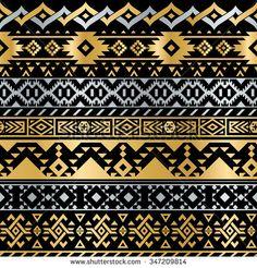 Seamless Tribal Metallic Pattern
