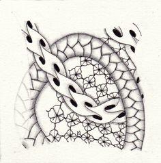 Ein Zentangle aus den Mustern Intwine, Brax, Plait,  gezeichnet von Ela Rieger, CZT