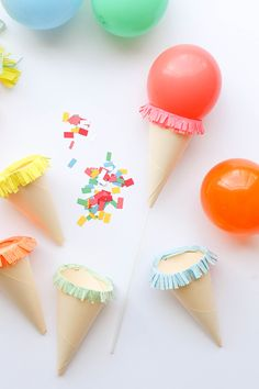 Mini Ice Cream Cone Balloon Sticks DIY | Oh Happy Day!