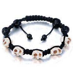 New Year Deals - white shamballa bracelet halloween skull black beads on cotton rope Image.
