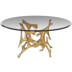 1stdibs - Signed Fred Brouard Abstract Gilt Bronze Dining Table BaseAn abstract gilt bronze dining table base by sculptor Fred Brouard, French C. 1970's.