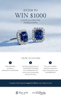Your chance to win a $1000 gift card from Blue Nile! Need #wedding jewelry? New #fashion statement? Click to enter!