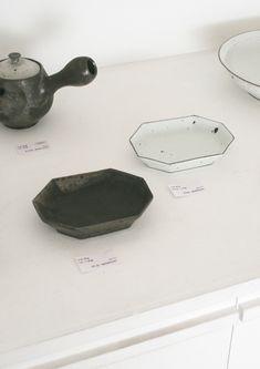 Close up of octagonal dishes. YAMAMOTO, Tetsuya. 山本哲也展 9/29~10/17