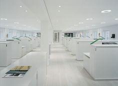 Sveriges Arkitekter HQ Office Interior Design, Office Interiors, White Interiors, Cool Office Space, Office Spaces, White Office, All White, Home Furniture, Cool Stuff
