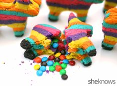 Piñata cookies - Cookies with surprises hidden in the middle!  Who wouldn't be excited to get eat this?